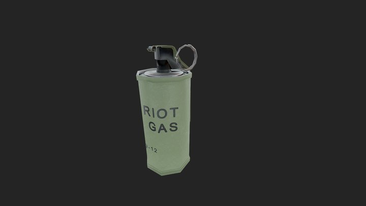 Teargas Grenade PBR Low Poly 3D Model