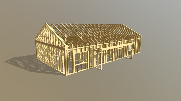 Timber Trusses For Energy Efficient House 3D Model