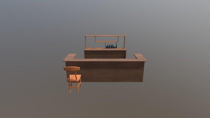 Interior Bar inside the hotel 3D Model