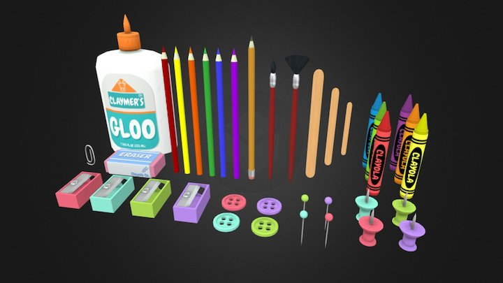 Arts and Crafts Supply Kit 3D Model