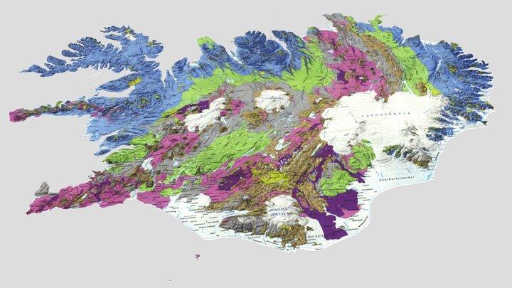 3D Iceland - Geological Map 3D Model