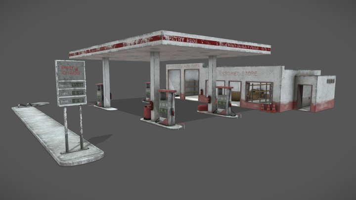 Old Gas Station Abandoned 3D Model