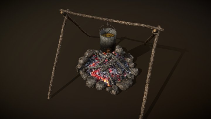 Campfire And Cooking Place 3D Model