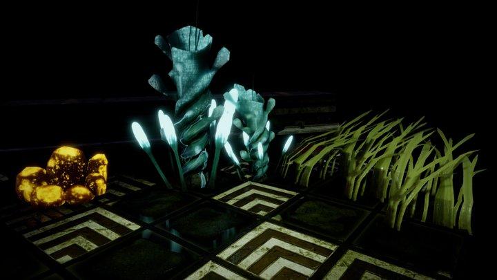 Underwater bioluminescence plants 3D Model
