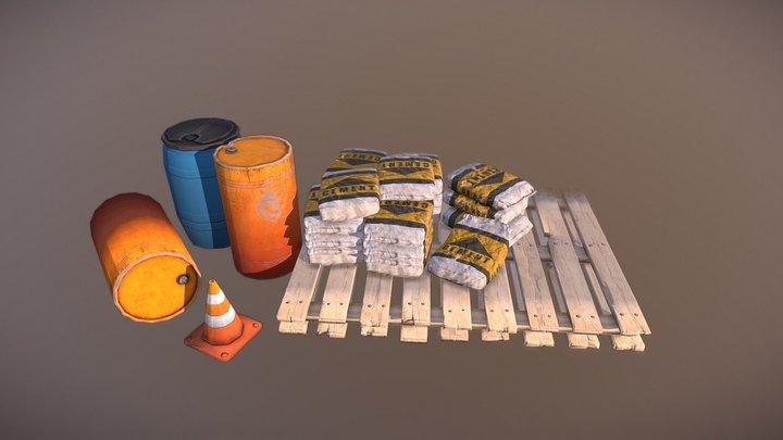 PBR Stylized / Cartoon - Construction site props 3D Model