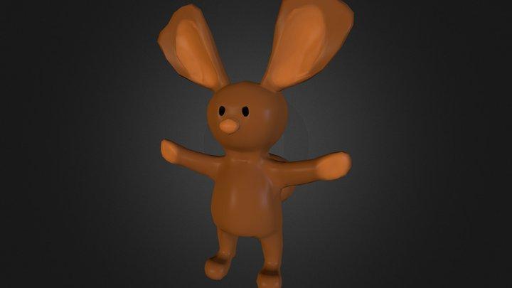 Cartoon Brown Rabbit 3D Model