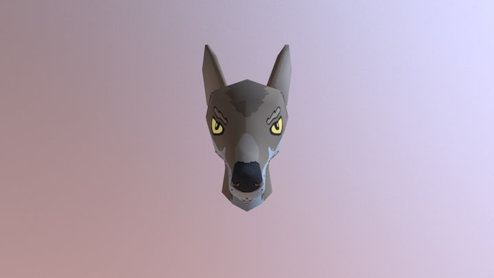 Wolf character head 3D Model