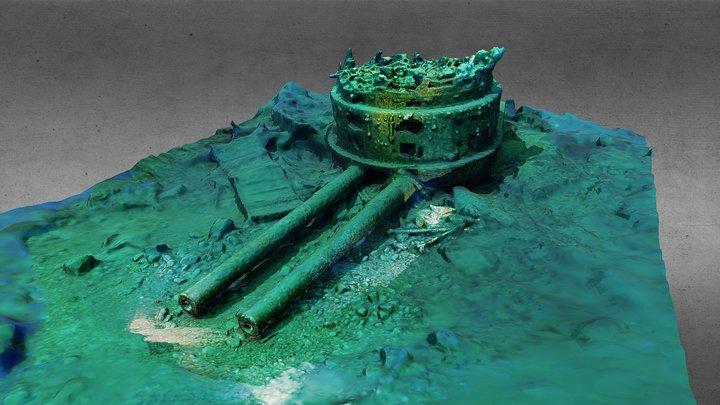"13.5"" guns off the WWI dreadnought HMS Audacious 3D Model"
