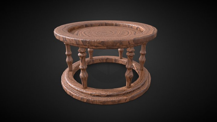 Wooden Circle Table 3D Model