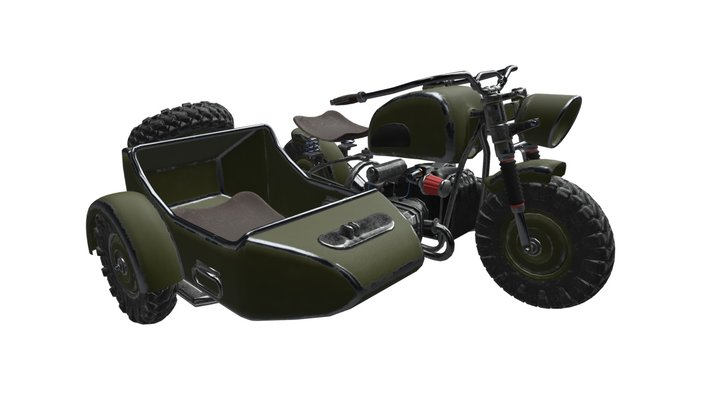Game Ready Sidecar Motorbike 3D Model