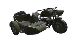 Game Ready Sidecar Motorbike 3D Model