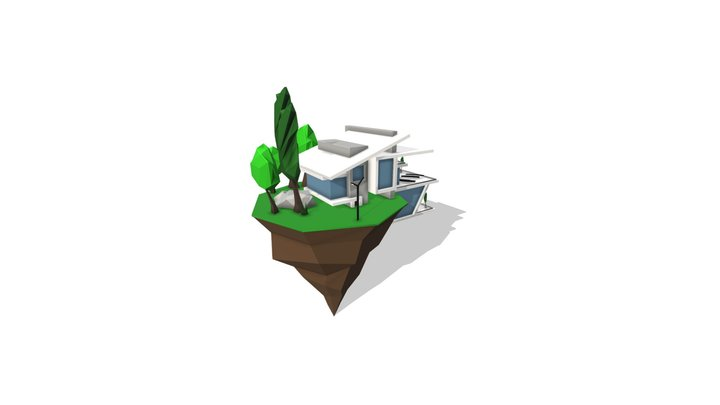 Low Poly Modern House 3D Model