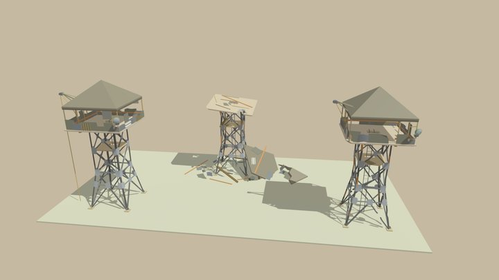 Watch Tower Damage 3D Model