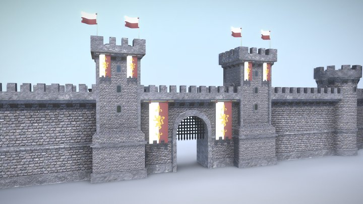 Modular Medieval Wall - Realistic 3D Model