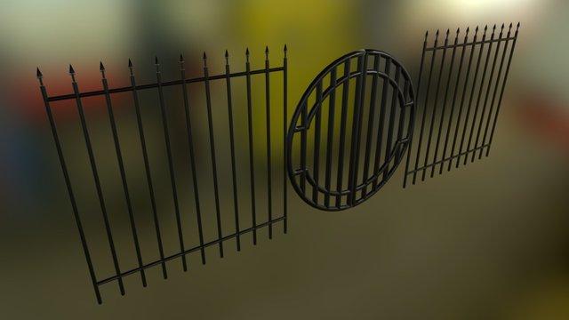 Iron Fence and Gate   Blender 3D Model