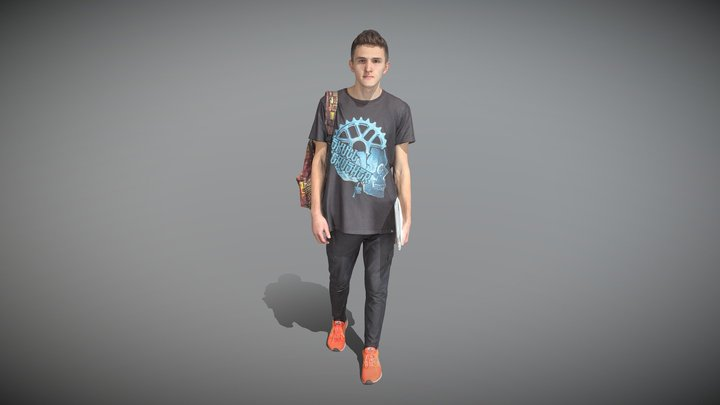 Stylish man with a backpack and laptop 32 3D Model