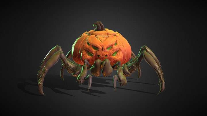 Pumpkin Spider Animations 3D Model