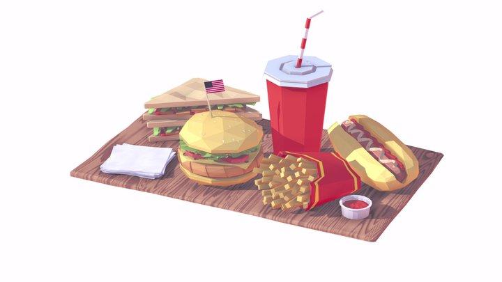Cartoon Low Poly Food Pack 3D Model