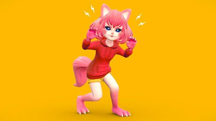 Werewolf Girl 3D Model