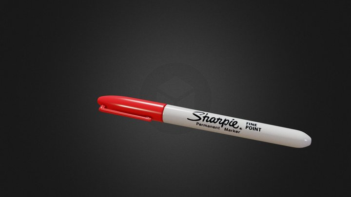Sharpie Fine Point Marker PBR 3D Model