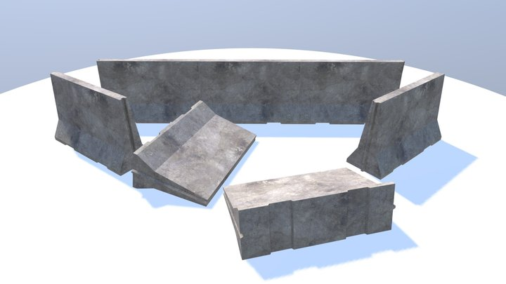 Concrete Road Barrier 3D Model