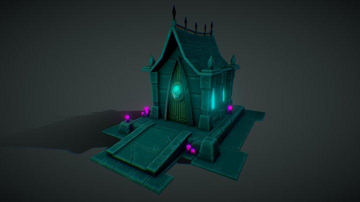 Low Poly Stylized Grave 3D Model