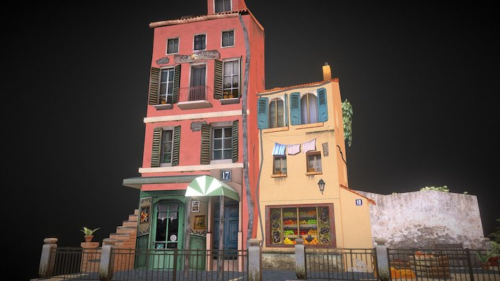 3D 1 Low Poly City Scene - Menton 3D Model