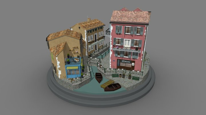 Annecy cityscene 3D Model