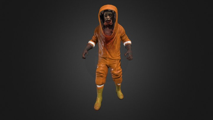 Zombie in a hazmat suit 3D Model