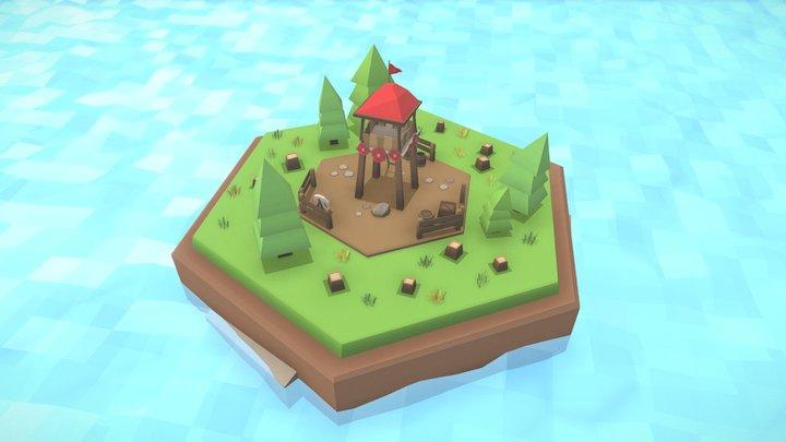 Defensive tower tile 3D Model