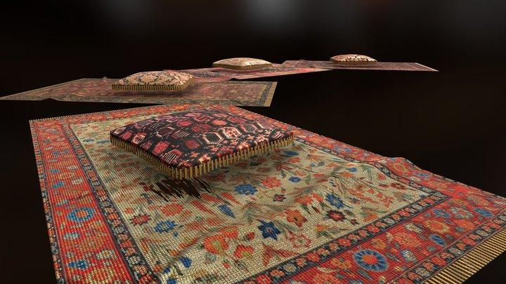 Ottoman Pillow and Carpets v2 3D Model