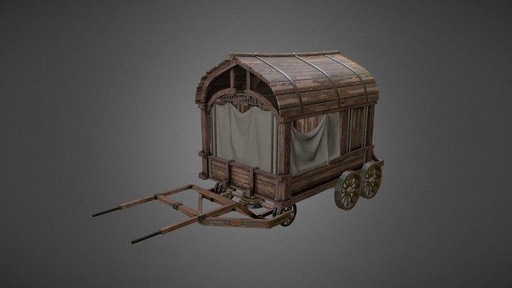 Merchant Wagon Game Asset 3D Model