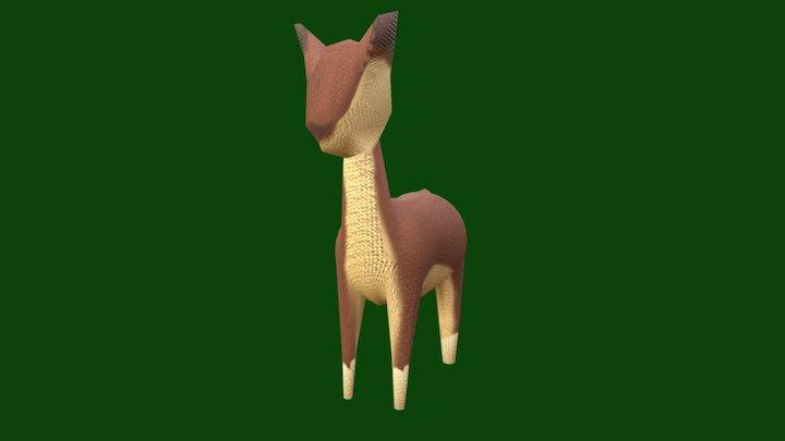 Hand Pinted Deer 3D Model