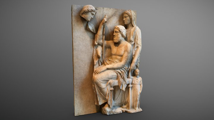 Marble grave stele with a family group 3D Model