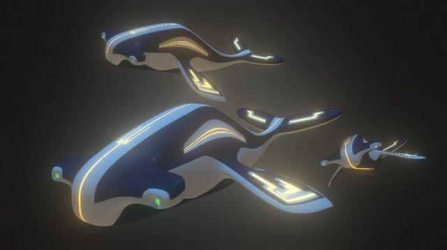 Cybernetic Hammerhead Whales 3D Model