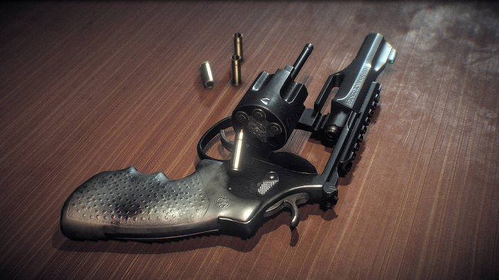 Smith and Wesson .357 Magnum Model TRR8 Scene 3D Model