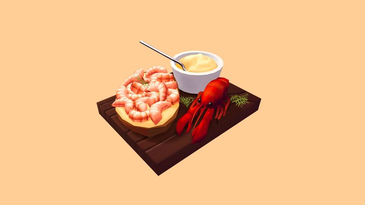 Crayfish sandwich 3D Model