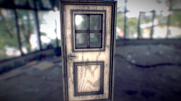 Old grunge door with little window 3D Model