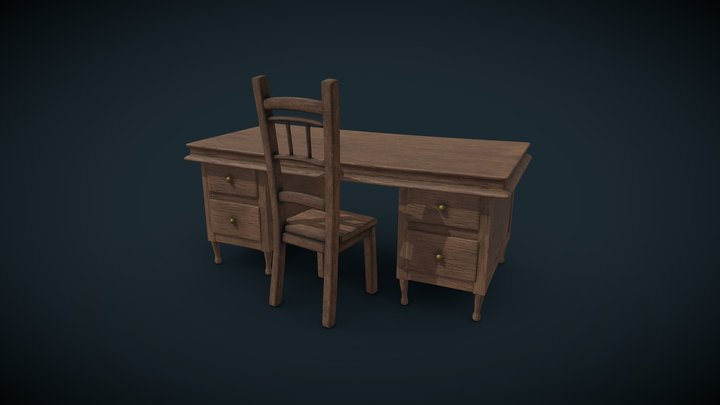 Stylized Table Chair 3D Model