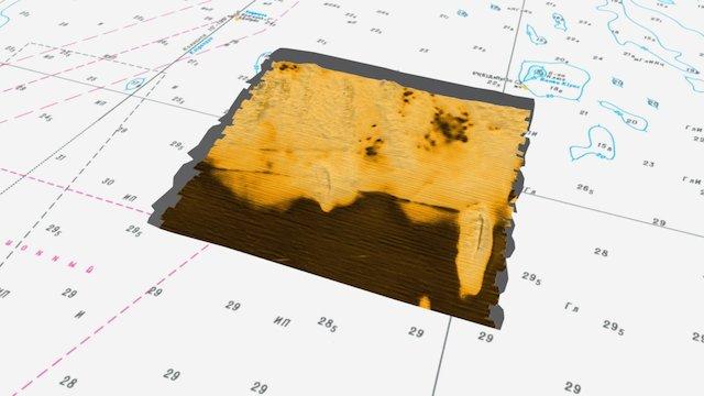 Bathymetry with backscatter data 3D Model