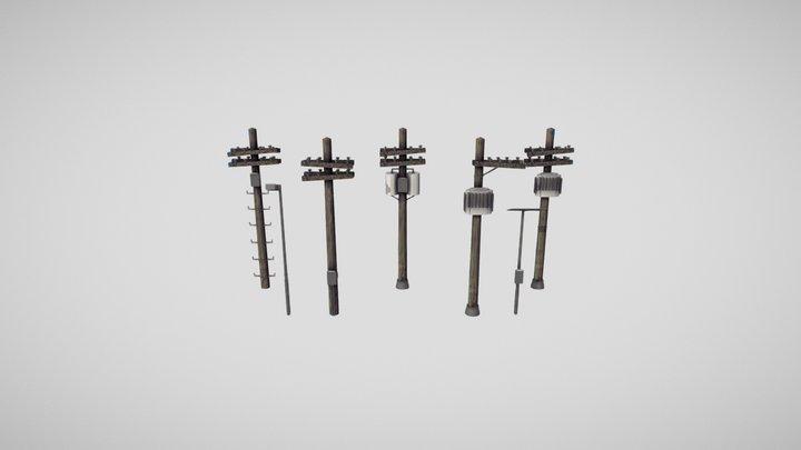 Pack de Postes 3D Model