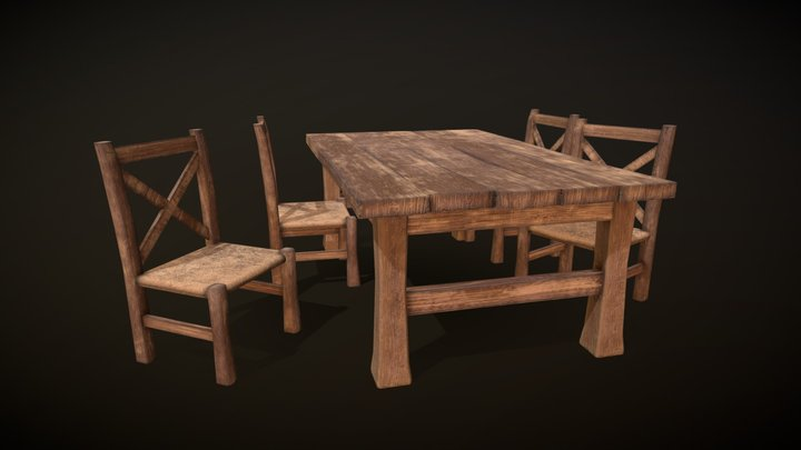 Common Table And Chair 3D Model