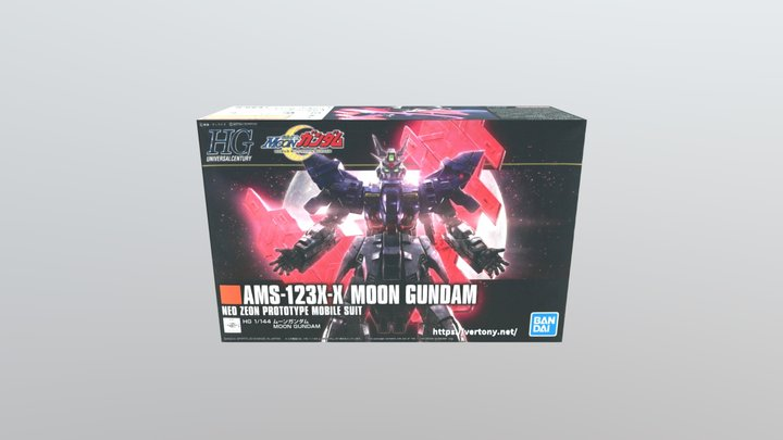 HGUC 1/144 AMS-123X-X MOON GUNDAM BOX 3D Model