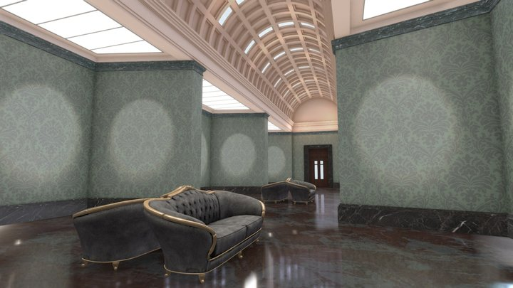 VR Classic Art Gallery Stage Hall 4K 02 3D Model