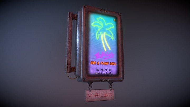 Neon street sign 3D Model