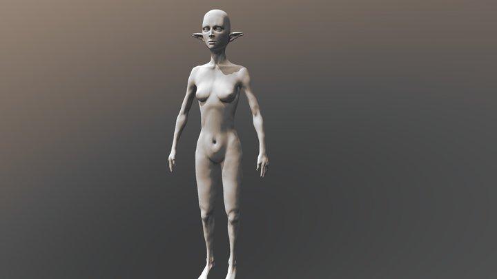 Female Base Mesh Elf 3D Model