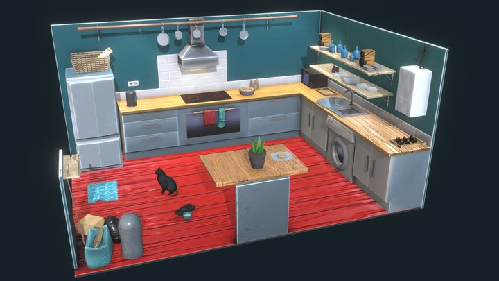Cute Kitchen Low Poly 3D Model