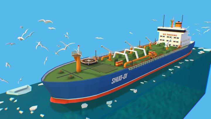 Isometric Boat Ship Blue Oil Tanker in ocean 3D Model