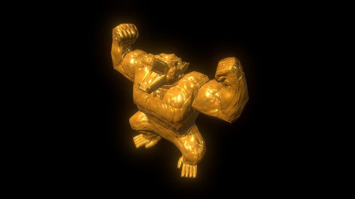 Gold Oozaru Gorilla Low-Poly 3D Model