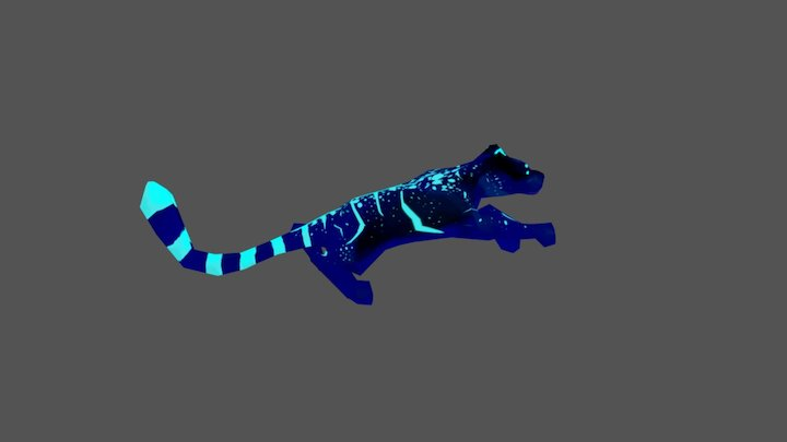 Panther - blue - animated 3D Model